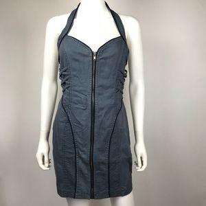 XOXO Stretch Denim Front Zip Halter Bandage Dress